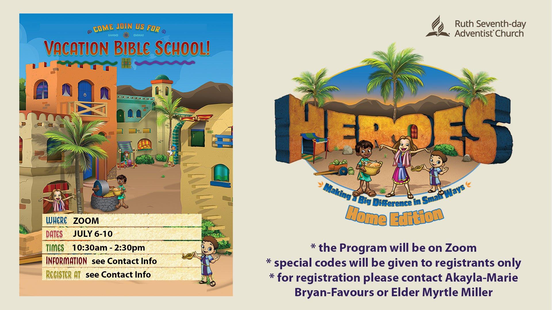 Ruth Vacation Bible School 2020 flyer