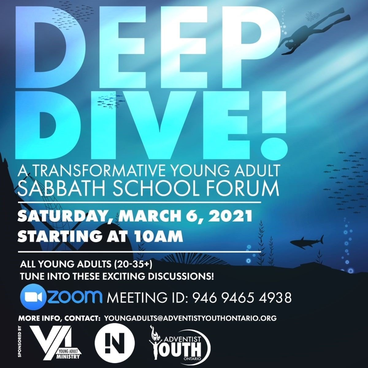 Deep Dive - Young Adults flyer