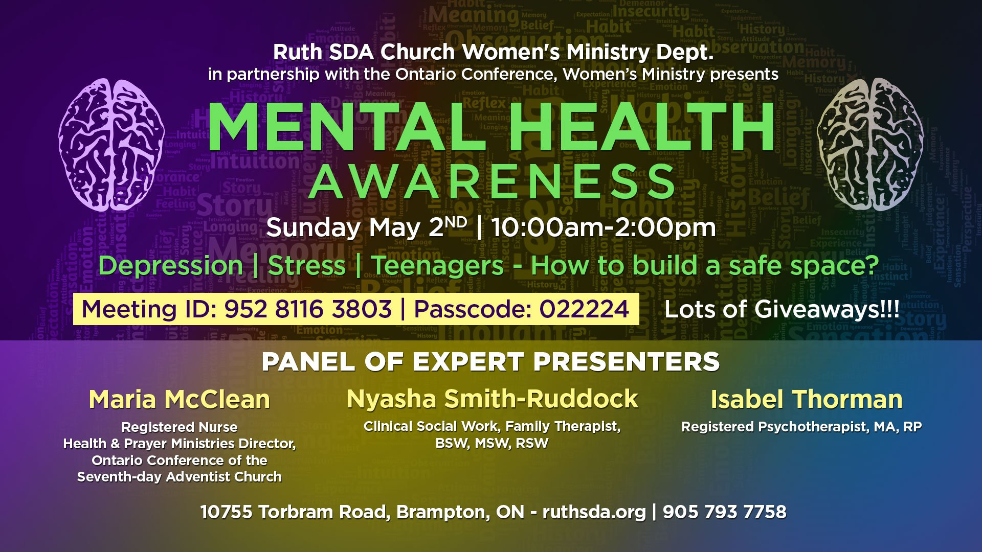 Mental Health Ontario Conference Womens Ministry flyer May 2nd