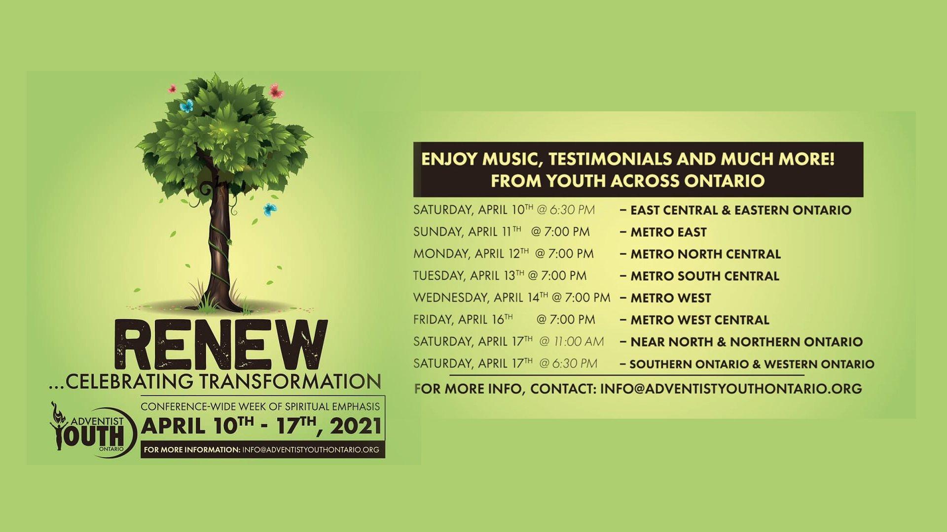 Renew Celebrating Transformation Adventist Youth Ontario